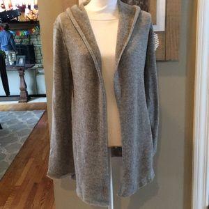 CAbi Gray Wool Hooded Open Cardigan Sweater